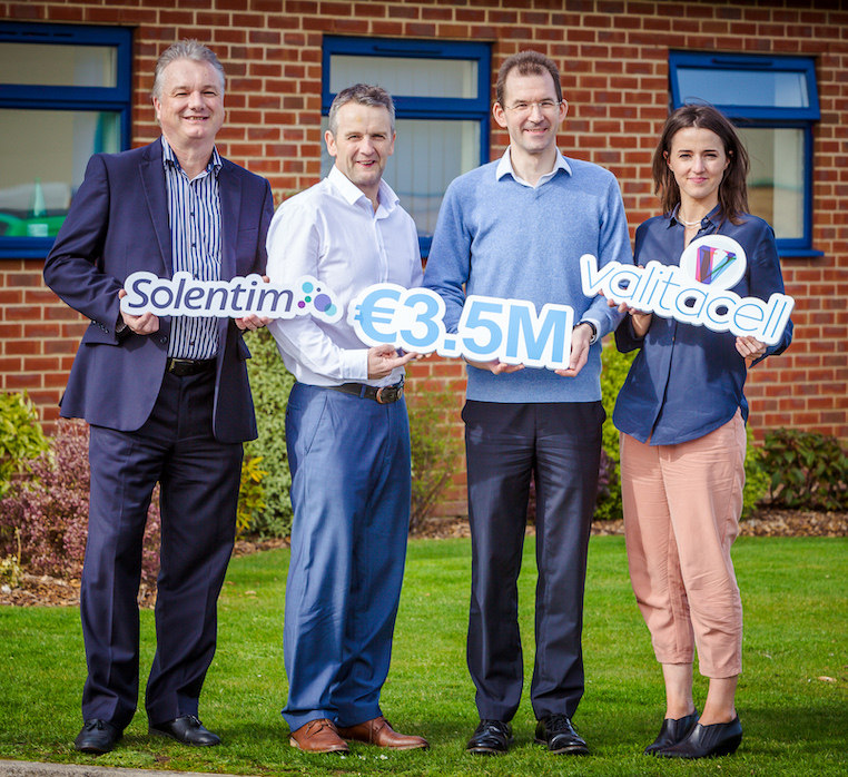 """Ian Taylor, Jerry Clifford, Aaron Figg, Carolanne Doherty<p><strong>Bournemouth, UK and Dublin, Ireland,27th March 2019 / <a href=""""http://www.sciadnewswire.com"""">SciadNewswire</a> /</strong><a href=""""https://www.solentim.com"""">Solentim</a> and <a href=""""http://www.valitacell.com"""">Valitacell</a> announce a total of€3.5m funding to produce an integrated platform to deposit, culture, profile and select optimal cells for the manufacture of life-saving biological medicines. Building on the ex"""